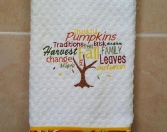 Autumn Dish Towel/ Fall Kitchen Towel/ Embroidered Kitchen Towel/ Waffle Woven Towel/ Kitchen Decor/ Thanksgiving Towel/ Housewarming Decor