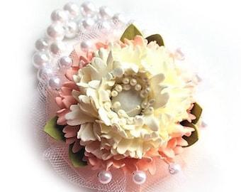 Ivory-peach wrist corsage Flower pion corsage  Flower pion accessory Flower bracelet Ivory flower corsage  Foam flower