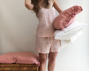 Linen pyjama, pink pajama, pajama shorts and top, pajama loungewear, gift for her, valentines gift, gift for daughter, short linen pyjama