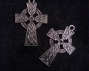 2 Celtic Knot Cross Pendants Antique Silver Tone 41x27mm