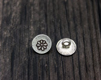 2 Karen Hill Tribe Sterling Silver Flower Buttons,10mm Sterling Silver Button Clasp for wrap bracelet, Bracelet Necklace Button Clasp