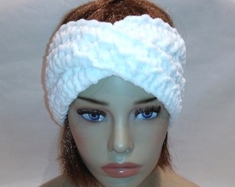 Hair accessories, woman gift, Soft white Headband, turban, birthday gift, knit headband, headwrap, Beautiful white colander