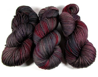Hand Dyed Yarn Worsted, Variegated, Wine Red, Dark Gray, Soft Black, Mauve, Purple, Sanguine Rose, DYED TO ORDER