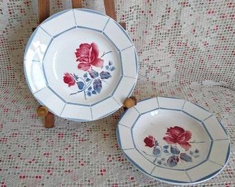 "2 hollow plates porcelain ""Malmaison"" DIGOIN & SARREGUEMINES - FRANCE. From the 40s"