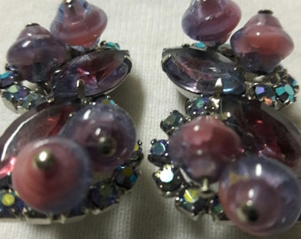 Rhinestone Pink and Purple Glass Bead Clip On Vintage Silver Plated Earrings