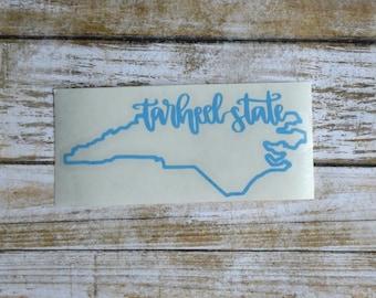 Tarheel State Sticker Tarheel State Decal Tarheels NC Decal Tarheels NC Sticker UNC Sticker Unc Decal