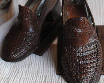 Loafers women leather braid 1970 / point: 37