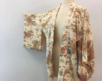 Cream silk kimono jacket * Vintage 1950s Japanese haori * 50s cropped silk kimono