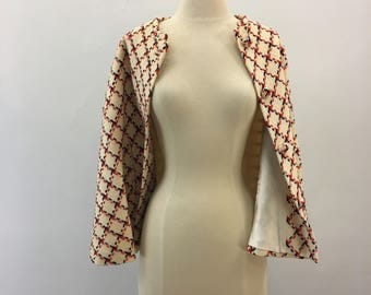 Red & navy checked cape * Vintage 1950s 1960s petite cape * 50s 60s cream wool cape