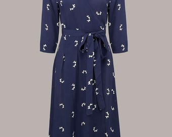 1940's Vintage Inspired Loretta Wrap Dress in Navy Doggy print by The Seamstress of Bloomsbury