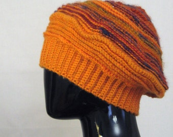 Yellow beret winter Oversized hat Warm Gold honey Orange crochet hat Slouchy hat Chunky hat Ribbed hat Gift for mom Wool hat Women hat