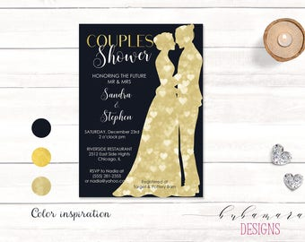 Navy Couples Shower Bridal Invitation Bride and Groom Silhouettes Digital Gold Letters Hearts Bokeh Printable Bridal Shower Invite - BS007