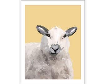 Sheep Print. Sheep Art. Sheep Painting. Sheep Gift. Farmyard Animals. Wall Art