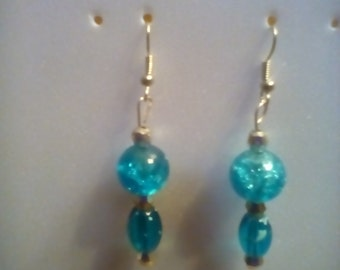 Glass beads dangling earrings