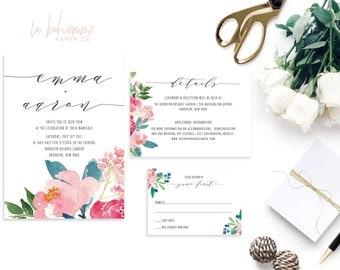 Printable Wedding Invitation Suite / Wedding Invite Set - Full Bloom