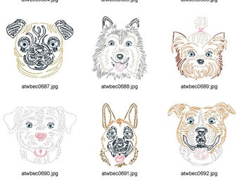 Zig-Zag-Dogs ( 10 Machine Embroidery Designs from ATW )