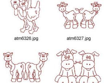 Noahs-Ark-Redwork-2 ( 7 Machine Embroidery Designs from ATW ) XYZ17D