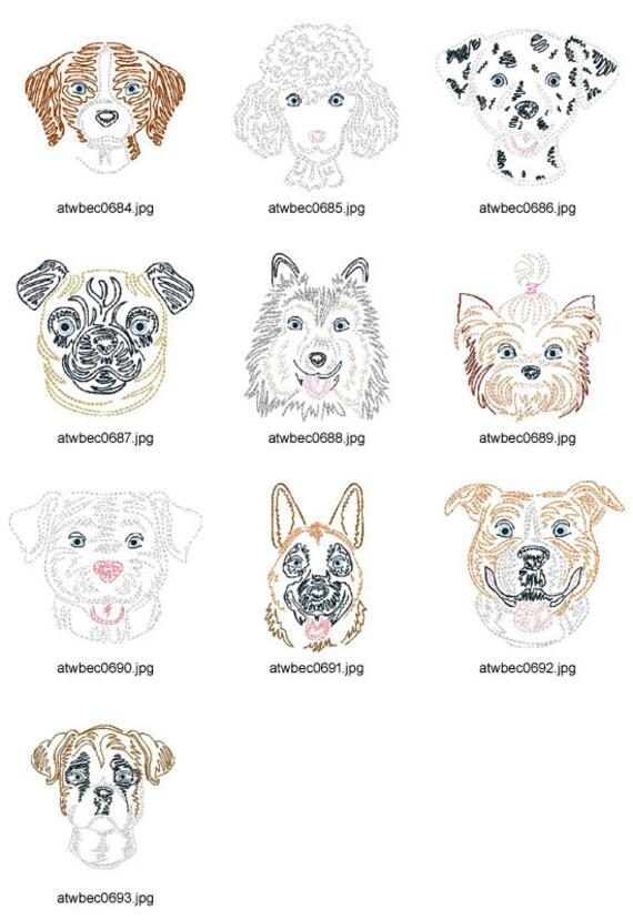 Zig-Zag-perros 10 diseños del bordado de la por ArtisticThreadworks