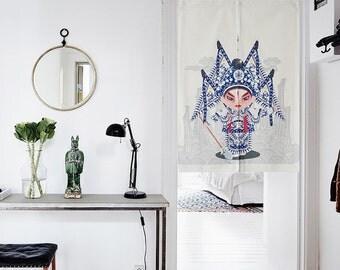 Japanese Noren Doorway Curtain / Tapestry with Beijing Opera Facial Masks (Zhao Yun)