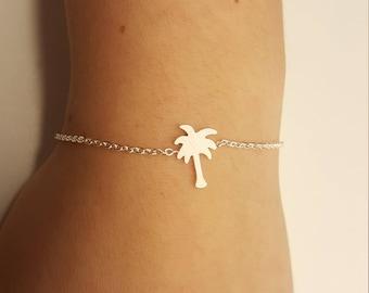 Palm tree bracelet, Palm tree jewelry, Palm tree charm, Tropical bracelet, Florida bracelet, silver palm tree tone,coconut bracelet,palmtree