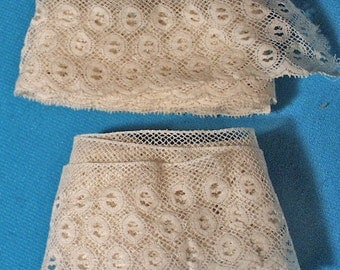 Antique Lace Unused Wide Scalloped Trim Edging TWO LENGTHS