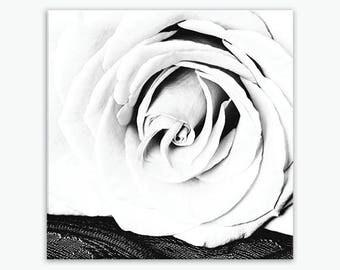 Canvas Wall Art Flowers, Rustic Bathroom Decor, Shabby Chic Bathroom Decor, Black White Flower Wall Print, Rustic Flower Art, Rose, 24x24