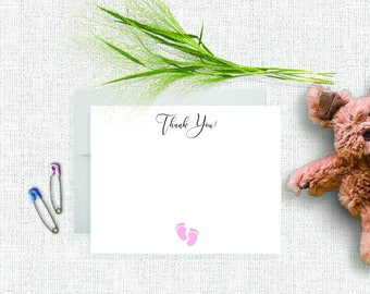 Baby Shower Thank You Cards, Baby Stationery, Baby Stationary, Personalized Baby Shower Gift, Baby Stationery Set, Baby Feet, Girl, Pink