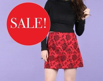 90s Vintage Romantic Rose Mini Skirt