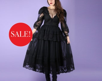 Romantic 80s Vintage Black Lace Gown Dress