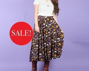 Elegant 70s Pansy Midi Skirt