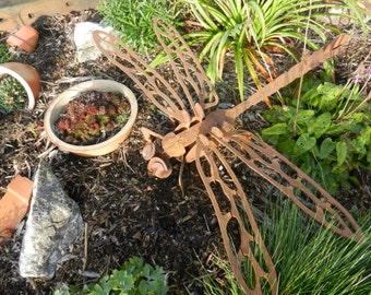 Giant 3D Dragonfly 3ft / 3D Metal Dragonfly / Large Dragonfly gift / Garden Sculpture / Garden Decor / Dragonfly Metal Art / Rusty Dragonfly