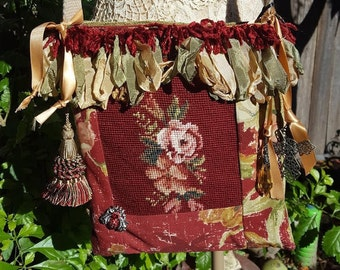 Embellished vintage  Needlepoint shoulder bag.