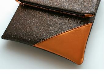 "Glamour clutch ""Sparkle"", hand bag, evening bag, rose gold, iPad case / / clutch, handbag, bag, evening bag, purse, pink gold"