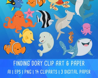 20% OFF Finding Dory Clipart, Nemo, disney Movie, Underwater Animal, Cute Fish Cartoon, Digital Paper Pattern, Instant Download PNG 300 dpi