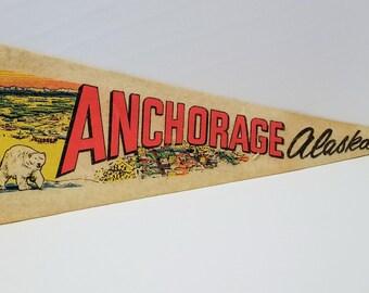 Anchorage, Alaska - Vintage Pennant