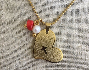 Stainless steel necklace with heart charm, pearl and red coral