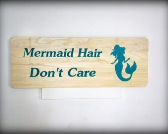 Mermaid hair don't care fun beach house wooden sign for home decor nautical decor, Great Mother's Day Gift