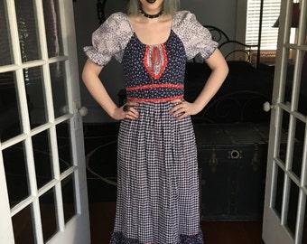 Vintage Jody T of California Prairie Dress 1970s