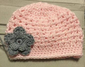 Homemade Baby Girl Crocheted Hat with Attached Flower (Newborn - 5yrs)