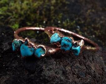 Türkisring, Edelsteinring, Kristallring, Turquoise, Raw Turquoise ring, Crystal ring, Boho ring, Kupferring, Heilsteinring, Copper, Rustikal