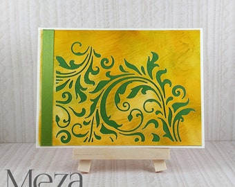One of a Kind Note Card - Yellow and Green - Handmade