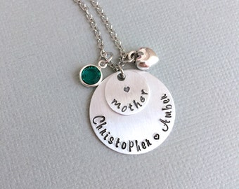 Personalized Mother Necklace, Hand Stamped Necklace, Mother's Day, Children Name Jewelry, Aunt Necklace, Grandma Necklace, Granny Necklace