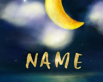 Children's Room Custom Name Print, Stars, Moon, Ocean, Night, Kid's Wall Decor, Baby Room, Nursery, Custom Print, Nighttime, Dream, Bed Time
