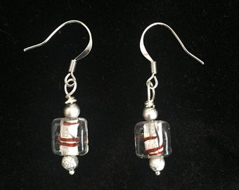 Silver and Brown Striped Glass Dangle Earrings
