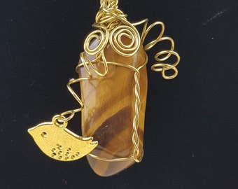 Tigers Eye Crystal Pendant- Golden Brown and Wire Wrapped  by AMEArtistry. Gold plated chain and wire. Handmade gift.