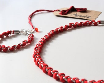 Braided Jewellery, Red Fabric Jewellery Set, Bohemian Jewellery, Bracelet and Necklace set, Textile Jewellery, Collar y pulsera trapillo