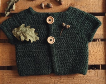 To order - sleeveless Cardigan crochet wool baby unisex natural wood buttons