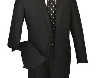 Classic-fit men's suit 2 bottons solid black suits new with tag