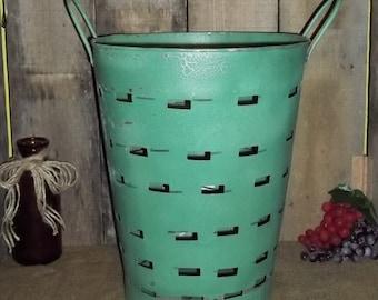 Olive Bucket Tin Antique Reproduction Tin Wedding Floral Craft Primitive