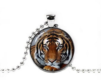 Tiger Pendant Tiger Necklace Tiger Jewelry Photo Glass Pendant Animals Jewelry